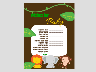 Jungle Safari Animal Baby Shower Magical Printable