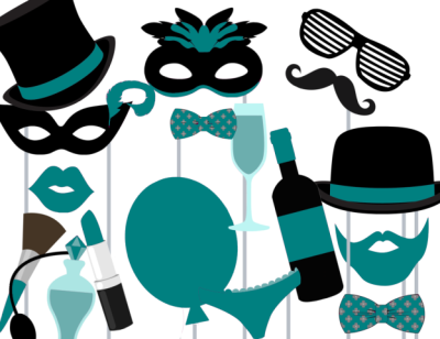 teal-wedding-photo-booth-props