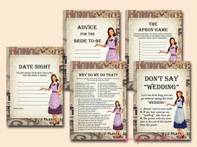 1950's housewife bridal shower game pack, retro bridal shower, 1920's, 1940's, old style, bs119