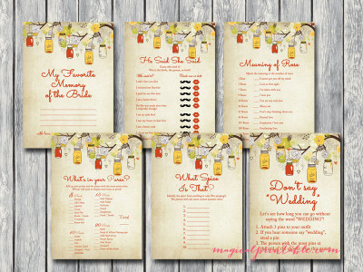 autumn mason jars bridal shower game pack, instant download, printable bridal shower games bs114