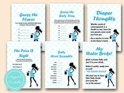 baby boy baby shower game pack, instant download, pregnant lady