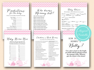 baby girl whale baby shower games pack, tlc117, nautical baby shower games