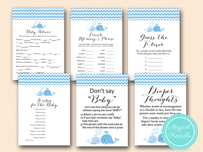 blue baby whale baby shower game pack, blue nautical baby shower games, tlc118