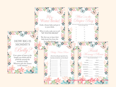 butterfly baby shower game pack, printable baby shower games tlc89