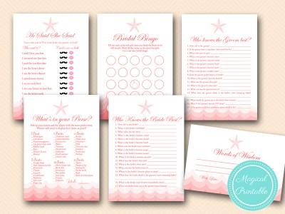coral beach bridal shower game printable, coral nautical theme