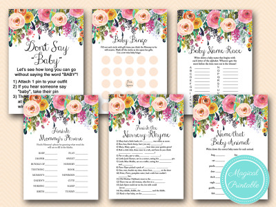 floral baby shower, shabby chic baby shower game pack tlc140 watercolor flowers