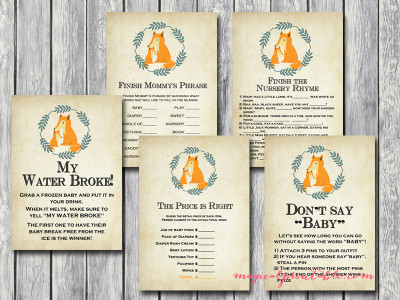 fox baby shower game printables, tlc94, autumn baby shower games, foxy, miss foxy, mr foxy