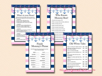 girl nautical baby shower games, pink nautical baby shower game printables