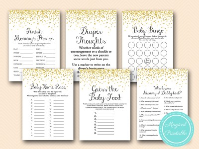 gold baby shower game pack, gold confetti, sprinkle tlc148