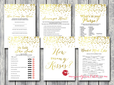 gold bridal shower game pack, gold foil, gold confetti, bs87, modern bridal shower game pack, unique games and fun games