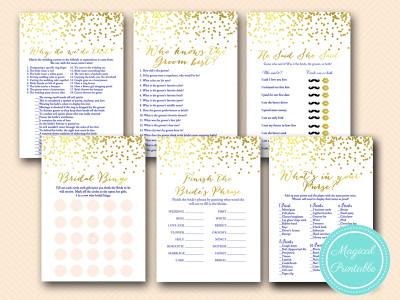 gold foil and navy blue bridal shower game pack download bs159