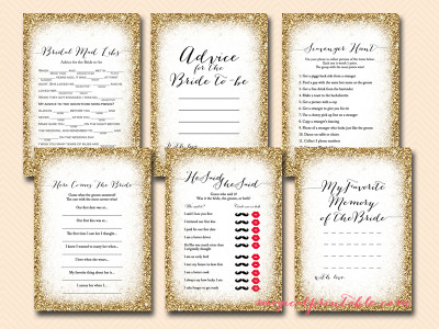 gold glam bridal shower games package, bs140, gold nugget bridal shower games, gold frame