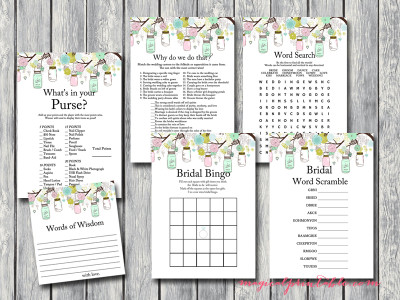 light pink and mint bridal shower game pack, printable games, instant download bs74