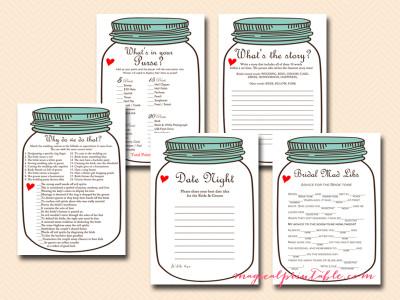 mason jars bridal shower games, rustic bridal shower game package, instant download, bs94, teal lid