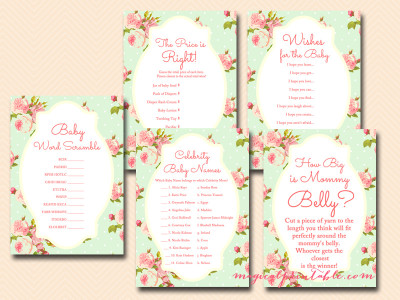 mint shabby chic baby shower game pack, floral, rustic baby shower game pack, instant download TLC85