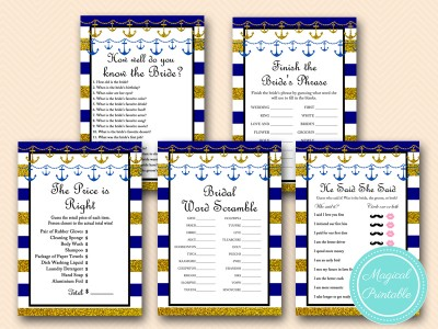 navy and gold nautical bridal shower games pack download bs167
