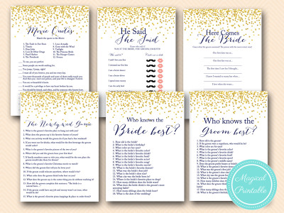 navy blue bridal shower and gold dots games bs156