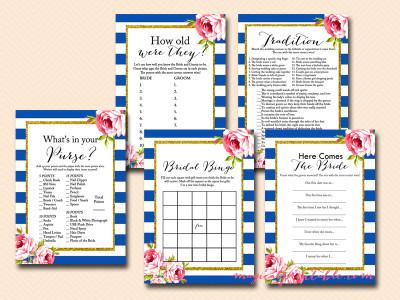 navy blue bridal shower game package, instant download, navy stripes, blue stripes, bs93, chic, floral