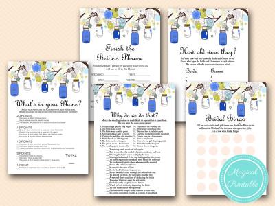 navy mason jars bridal shower game download printable bs163