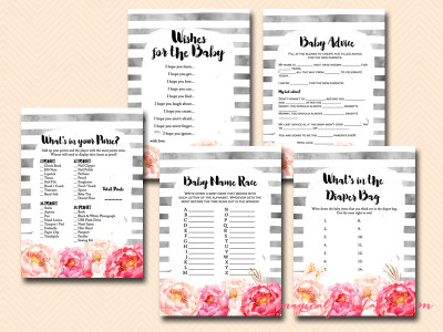 peonies watercolor baby shower game pack, tlc95, instant download