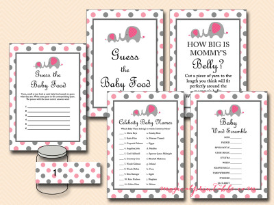 pink and gray elephant baby shower game pack, tlc88, instant download, printable baby shower games