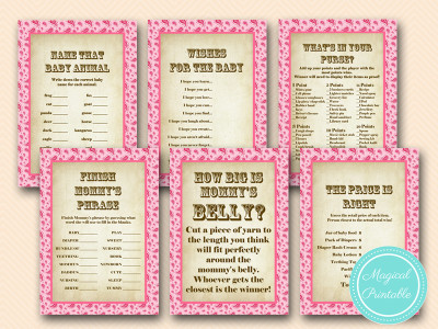 pink girl cowgirl baby shower game pack download, pink paisley pattern