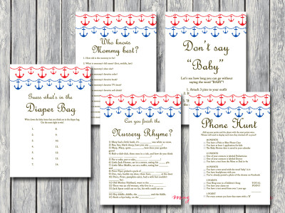 red and blue nautical baby shower game pack tlc13, instant download, printable games