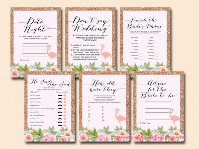 rose gold flamingo bridal shower game pack, bs130