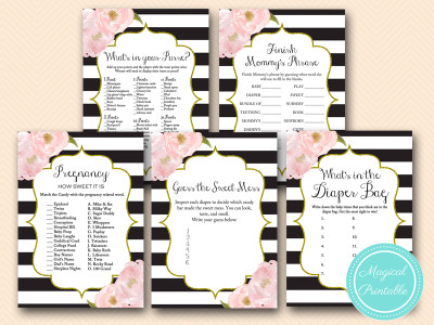 shabby chic baby shower game pack, black stripes, gold glitter tlc141