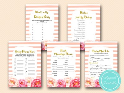 tlc142 peach baby shower games pack girl baby shower peonies