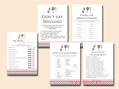 wine bridal shower games, wine themed bridal shower games, printable bridal shower games, instant download, bs102