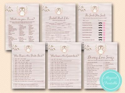 wooland bridal shower game printable, owl bridal shower games bs401