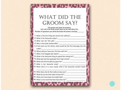 Pink Leopard Bridal Shower Games - Magical Printable
