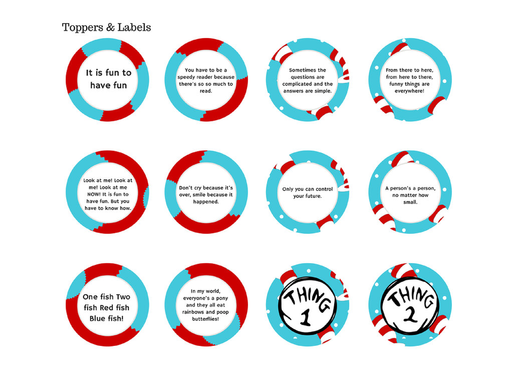 picture relating to Thing 1 and Thing 2 Printable Circles called Dr Seuss Celebration Pack - Point 1 Factor 2 - Magical Printable