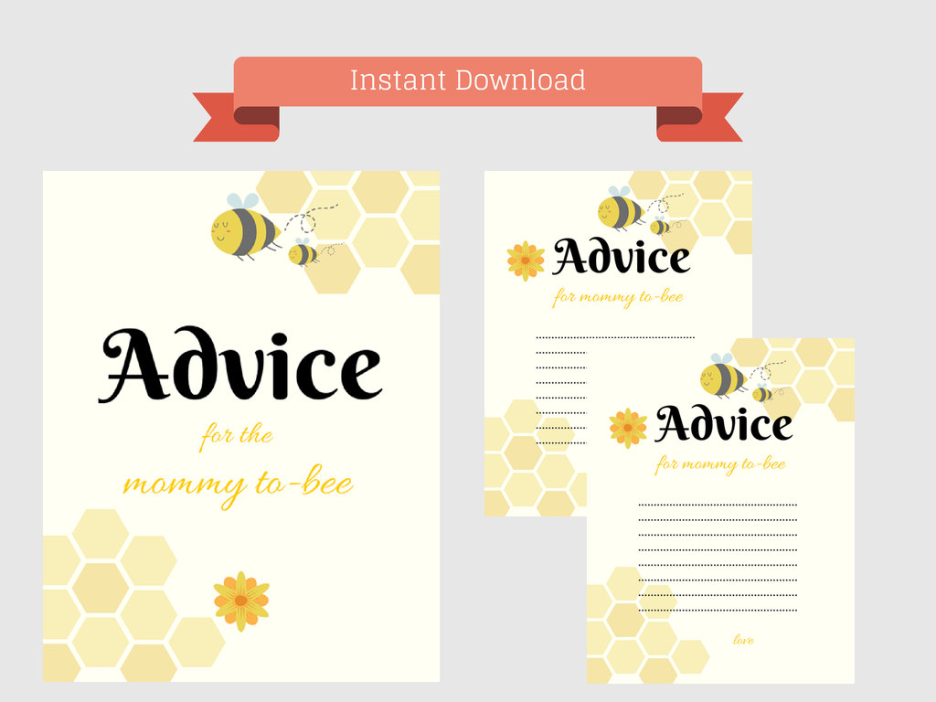 photo relating to Free Printable Baby Shower Advice Cards called Assistance for Mommy bee - Magical Printable