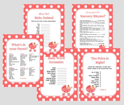 Pink Polka Dots Baby Shower Games Magical Printable