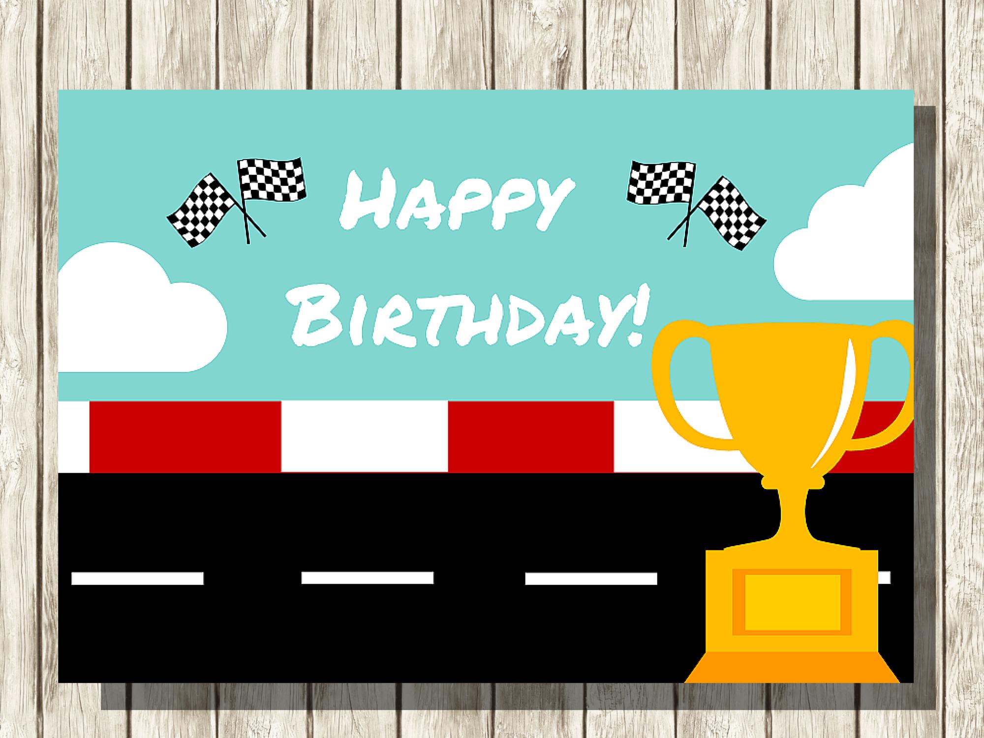 Racing Happy Birthday Backdrop Eby4 Magical Printable