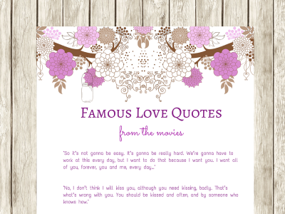 famous love quotes from movies Bridal Shower games, Purple Printable famous love quotes bridal Shower, Bridal Shower activity, mj02