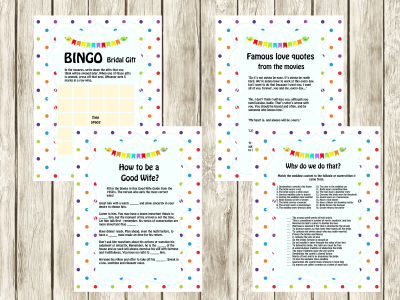 rainbow famous quotes from movies Bridal Shower games, Printable traditions bridal Shower, why do we do that, Bridal Shower activity, bingo,
