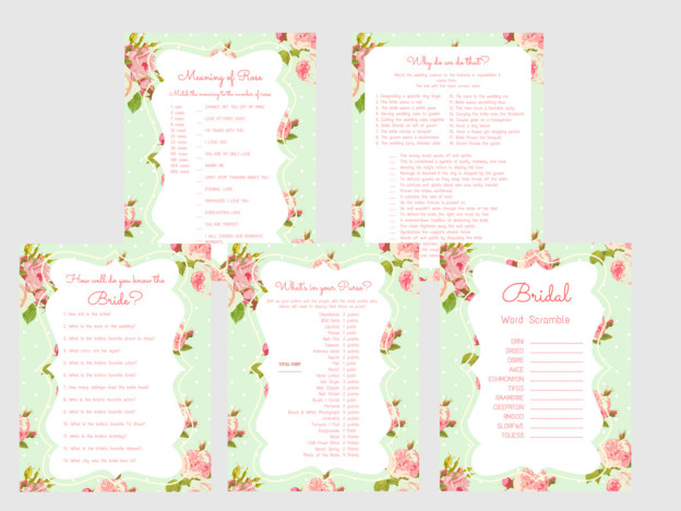 graphic about Bridal Games Printable called Mint Shabby Printable Bridal Shower Video games - Magical Printable