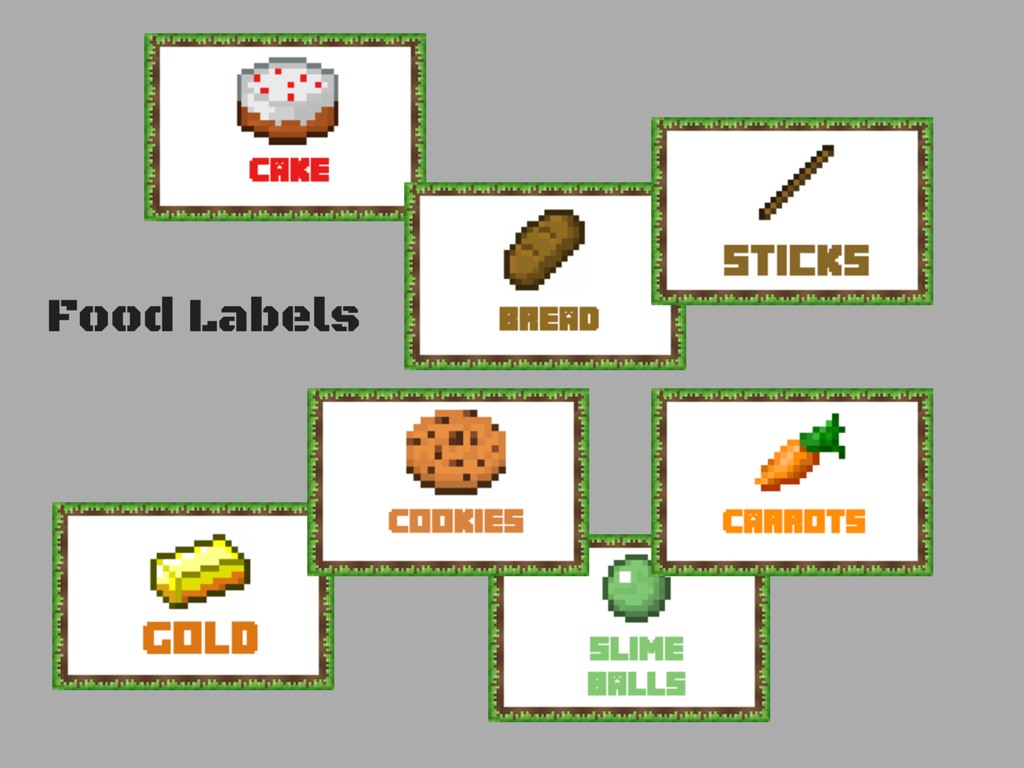 photo relating to Free Printable Minecraft Food Labels called Minecraft Foodstuff Labels - Magical Printable