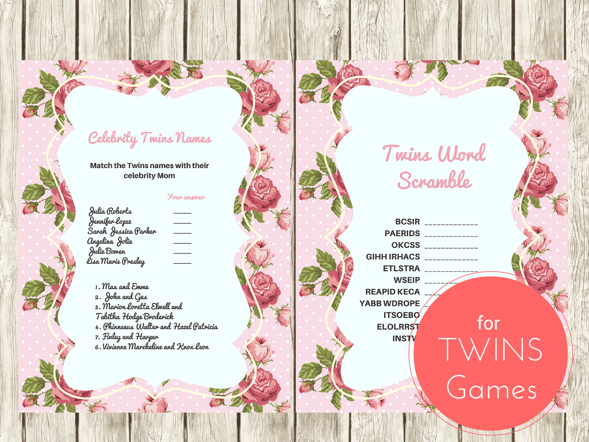 shabby chic vintage rose twins baby shower games