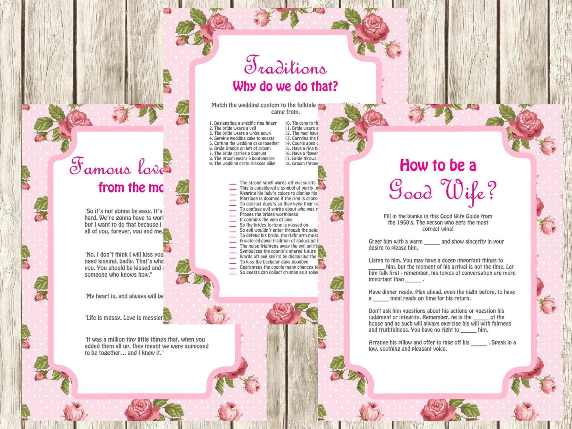 Vintage Pink Rose Bridal Shower Games - Magical Printable