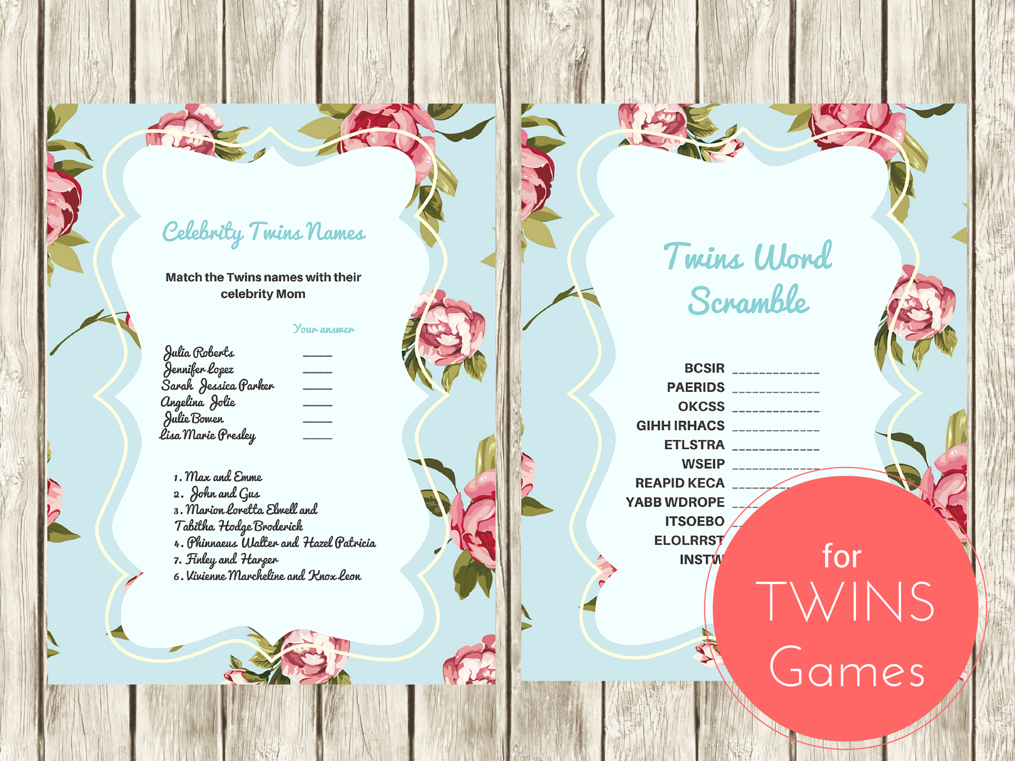 word scramble game celebrity twins names twin boys twin girls baby