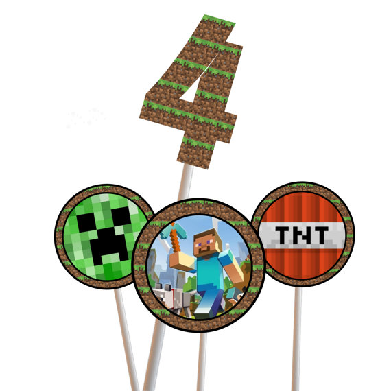 It's just an image of Printable Minecraft Cupcake Toppers with regard to happy