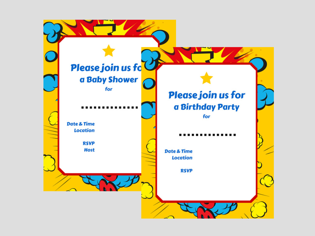 Luscious image in free printable superhero baby shower invitations