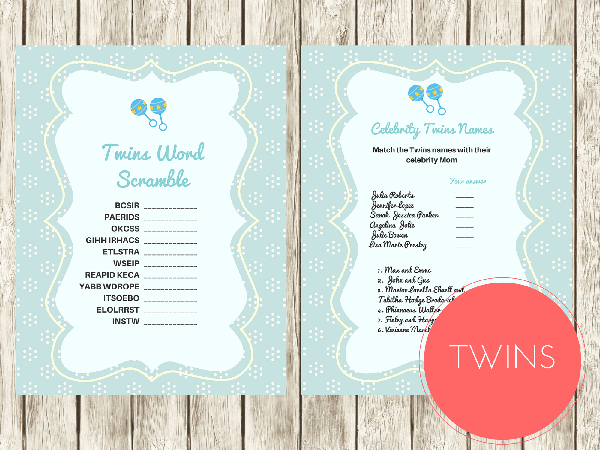 Twins Word Scramble and Celebrity Twins Names Games