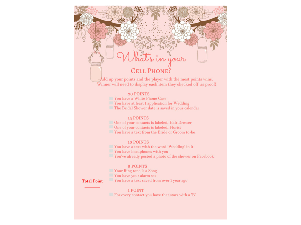 picture relating to What's in Your Cell Phone Game Free Printable referred to as Whats inside of your Mobile Mobile phone Bridal Shower - Magical Printable