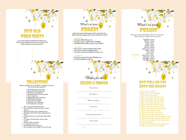 Honey Bee Bridal Shower Game Package Magical Printable