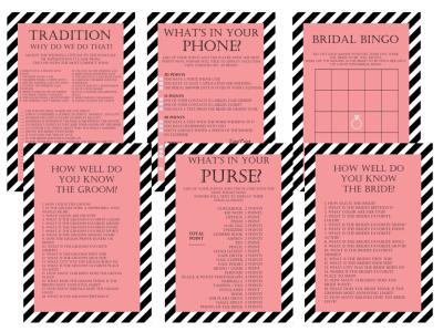 Modern Black & Flamingo Pink Stripes Bridal Shower Games Package Set, Black Stripes, Unique Bridal Shower Games, Wedding Shower, BS08